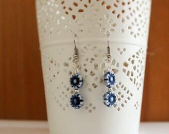 Blue Double Flower Dangle Earrings