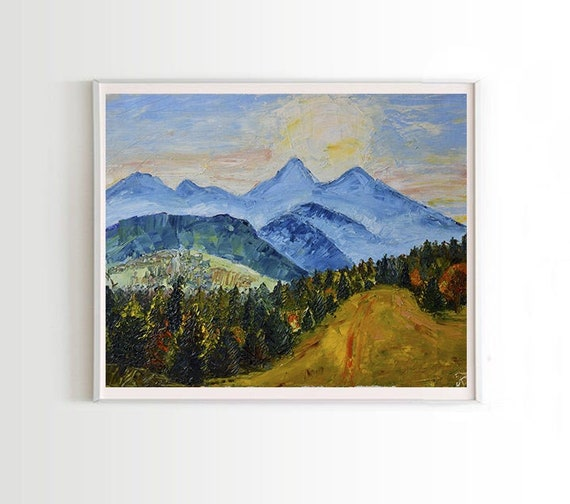 Fall Mountain Landscape Original Oil Painting On Canvas Etsy