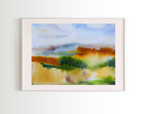 Abstract painting landscape original watercolor wall art | Etsy