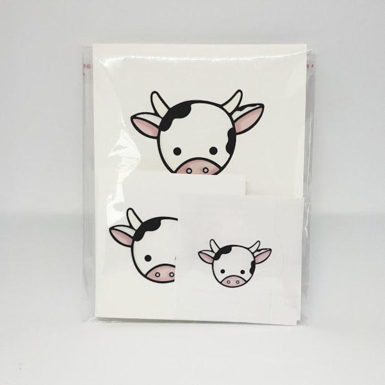 Holy Cow Card  Cow Card  Card Set  Friendship Card  Blank Card  Farm Card  Notecard  Sticker  Cow Sticker