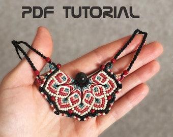 Micro Macrame Tutorial, Macrame necklace pattern, Macrame Jewelry Making, DIY bib necklace, Mandala collar