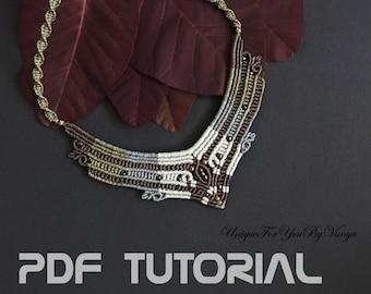 Micro Macrame Tutorial, Macrame necklace pattern, Macrame Jewelry Making, DIY choker, Vintage style necklace, DIY necklace