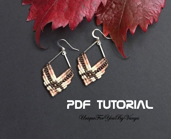 macrame earrings long earrings fall earrings Maple leaf earrings