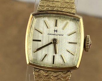Vintage 1950's Hamilton Watch 17 Jewels Movement Case is 10K Yellow Gold Rolled Champagne dial
