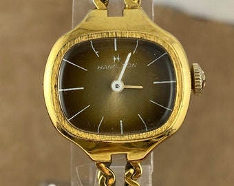 Vintage 1960's Hamilton 14K GF Watch. Has a Variegated Brown Color Dial White Hands Markers Custom Serpentine Chain Bracelet