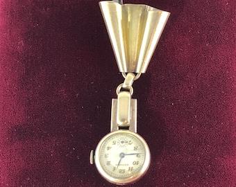 Vintage Gotham (Vermeil) 12K gold over 925 Sterling Silver Broach or Pendant Watch