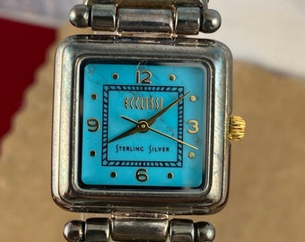 Ecclissi Sterling 925 Case with Turquoise Face Western Watch