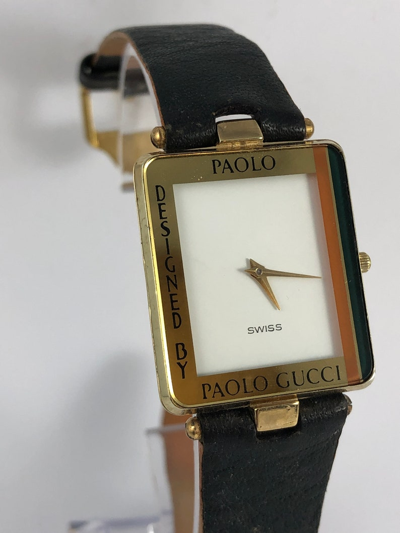 Vintage Rare Swiss Limited Edition PAOLO GUCCI Woman\u0027s Watch Rectangle  Case, Gold Plated, Stainless Steel Back, Green Leather Strap