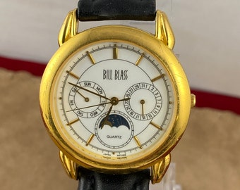 Vintage Bill Bass Moonphase Quartz Watch 3 Station Gold Plated and Stainless Steel Water Resistant to 50 meters