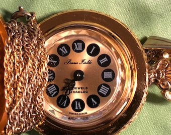 Vintage Mint Bourguard SA Incabloc Swiss Pendant Enameled Cover with Roman Numerals Watch Necklace and 24 Inch Gold Filled Chain