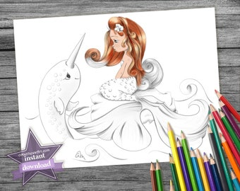 Hello Narwhal! Cute Mermaid Coloring Pages Kids and Adults will Love - Instant Download - Printable PDF