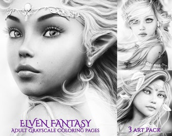 3 Elf Fantasy Princesses Grayscale Coloring Pages - 3 Versions Each Instant Download (9 pages!) - Printable PDFs
