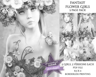 Beautiful Fantasy Flower Girls Grayscale Coloring Pages - 5 Art Pack Instant Download (3 Variations - 15 Pages!) - Printable PDF
