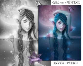 Realistic Mermaid Coloring Pages for Adults Instant Download - Printable PDF