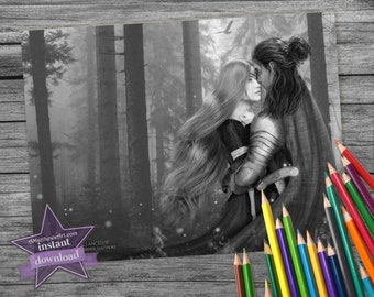 A Secret Kiss, A Handsome Knight, A Romantic Maiden who's soon to be Queen Fairytale Coloring Page