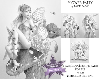 Flower Fairies Set of 4 Grayscale Coloring Pages - 3 Versions Each Instant Download (12 pages!) - Printable PDFs