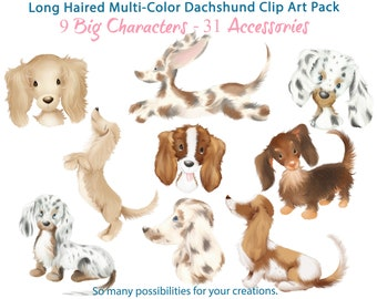 Cute Long-Haired Dachshund Dogs with Hats, Bows, Glasses, Flowers and more Mega Variety Clip Art Pack - Commercial Use Ok!