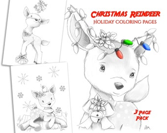 Cute Christmas Reindeer Coloring Pages Kids and Adults will Love - 3 Pack -  Instant Download - Printable PDFs