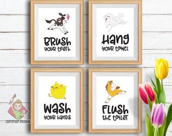 Bon Kids Printable Bathroom Wall Decor, Bathroom Wall Art, Bathroom Farm Decor,  Wash Brush Floss Flush, Kids Bathroom Signs, Kids Bathroom Set