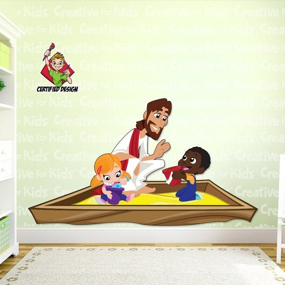 Jesus In A Sandbox Decal Bible Story Wall Etsy