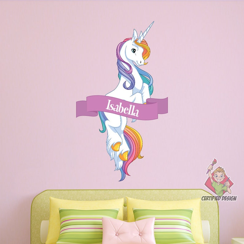 personalized unicorn name wall decal unicorn name decal | etsy