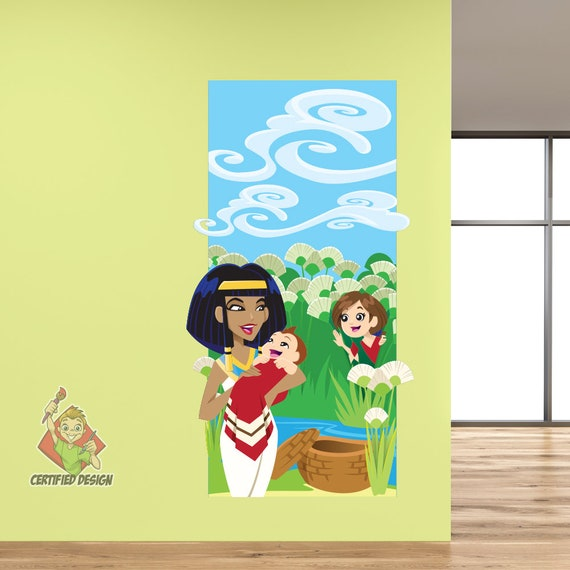 Baby Moses Wall Decal Bible Story Kids Etsy
