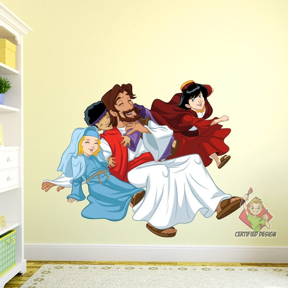 Jesus With Children Wall Decal Bible Story Etsy