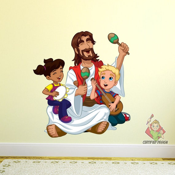 Jesus Singing With Children Wall Decal Bible Story Etsy