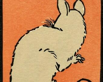 Orange Rat - trois couleur linogravure originale