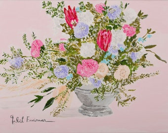 A bouquet of flowers ,A print on a heavy weight paper, perfect for kitchen wall art, wall art, ,vintage style homedecor, 15.5''x12''inches