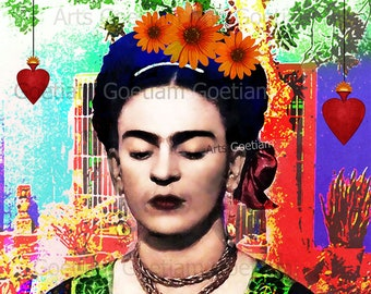 Frida Kahlo collage digital Instant download casa azul sacred heart reliquary printable  digital flowers Digital Sheet scrapbooking 1 jpg.