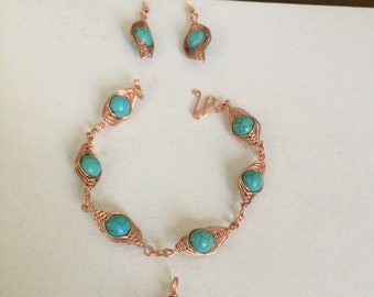Copper Wire Wrapped Bracelet with Earrings and Pendant