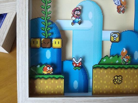 Super Mario World 001 3d Diorama Shadow Box Pixel Art Super Nintendo Super Famicom Shadow Box