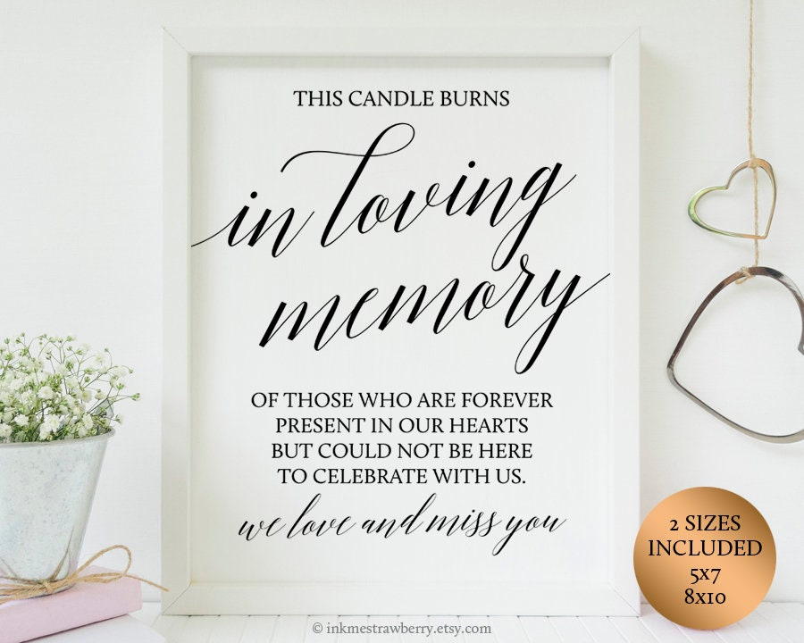 This is a photo of Revered This Candle Burns in Loving Memory Free Printable