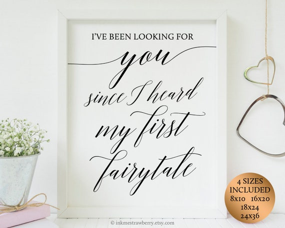Wedding Love Quote Signs, Fairytale Wedding Signs, Printable Wedding  Ceremony Sign Wedding Entrance Sign Bedroom Wall Decor Quotes Printable