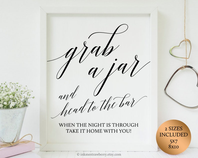 picture relating to Head in a Jar Printable named Seize A Jar And Brain In direction of The Bar Indication Printable Mason Jar Marriage ceremony Want Indication Rustic Wedding day Favors, State Marriage ceremony Favors, Wedding ceremony Jar Favors