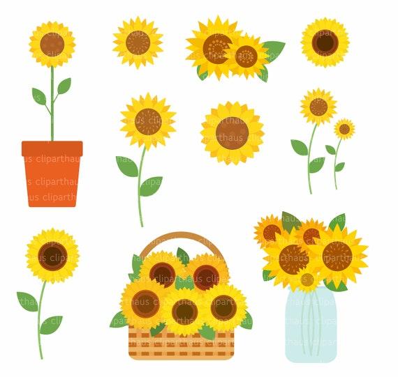 Sunflower Clipart Clipart Sunflower Sunflower Vector | Etsy