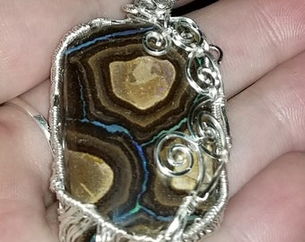 Hand wrapped Swirly Boulder Opal Pendant