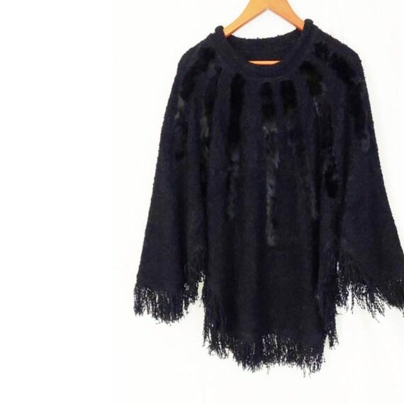 VINTAGE 80's Opulent Black Fringe Poncho Sweater T