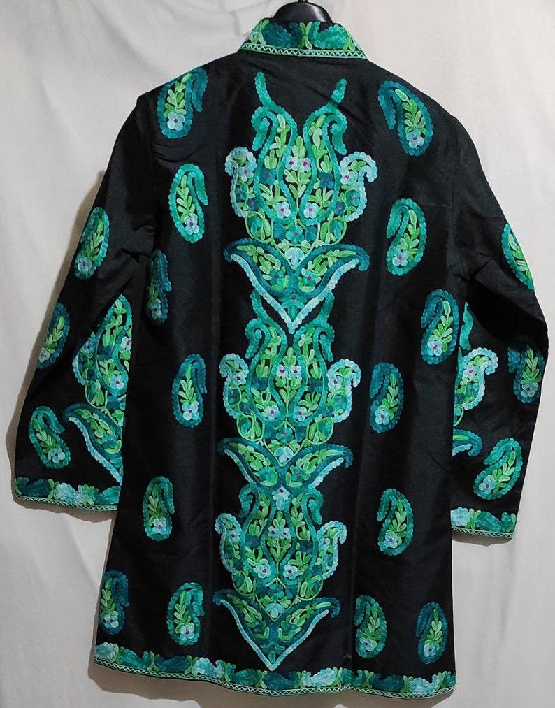 Kashmiri embroidered silk jacket