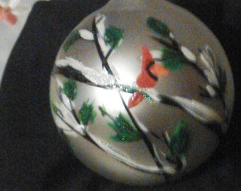 Beautiful hand painted sliver glass ornament
