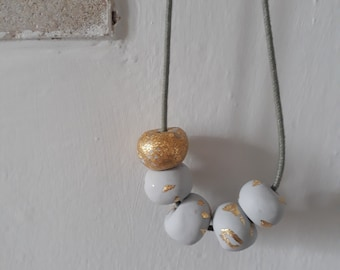 Grey and gold chunky statement polymer clay necklace