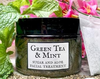 Sugar and Aloe Facial Treatment // Green Tea & Mint // Anti-Aging // Prevents Breakouts // 100% Natural and Vegan