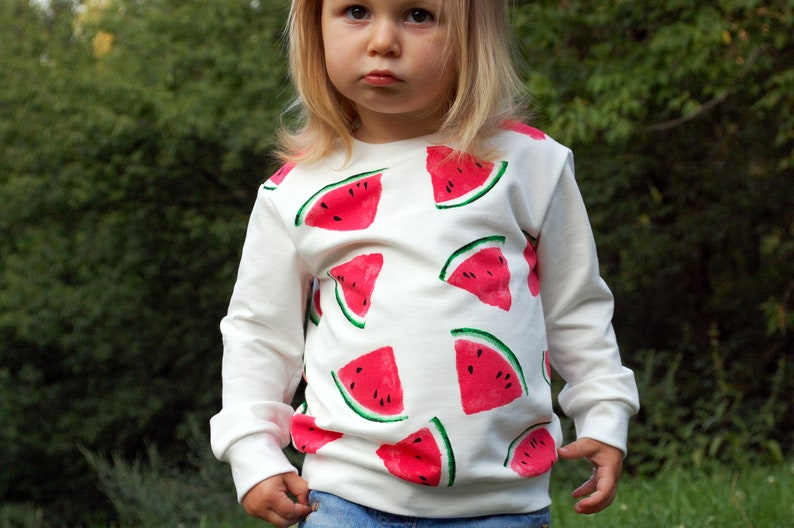 Organic watermelon kids sweatshirt  Baby girl sweatshirt  Organic baby clothes  Organic kids clothes