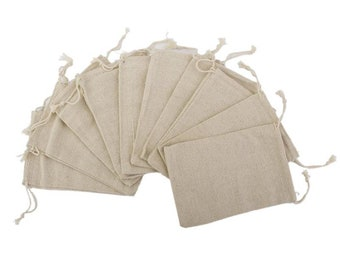 Set of 10 Linen Jute Drawstring Gift Bags Wedding Favours Bags