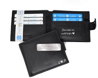 Personalised Engraved Black Luxury Soft Quality Genuine Leather Wallet With Zip Pocket