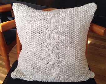 Cotton Cable Knit Throw Pillow