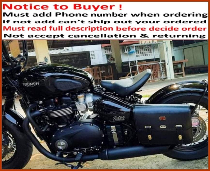 New LEFT Triumph Bobber Speed Master Saddle Bag Genuine cow Leather Top Grade