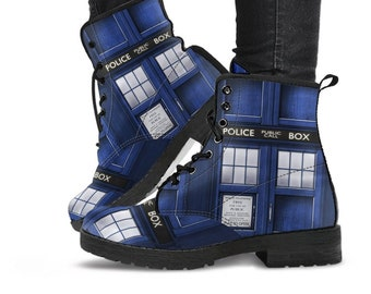 Doctor Who Tardis Vegan Leather Combat Boots - Police Box boots (REG31)