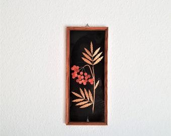 Vintage Bild, Blumenbild, Artwork Mid Century Kunst, Trockenblumen Bild,  Pressblumen Im Rahmen, Made In Germany DDR   Wanddeko